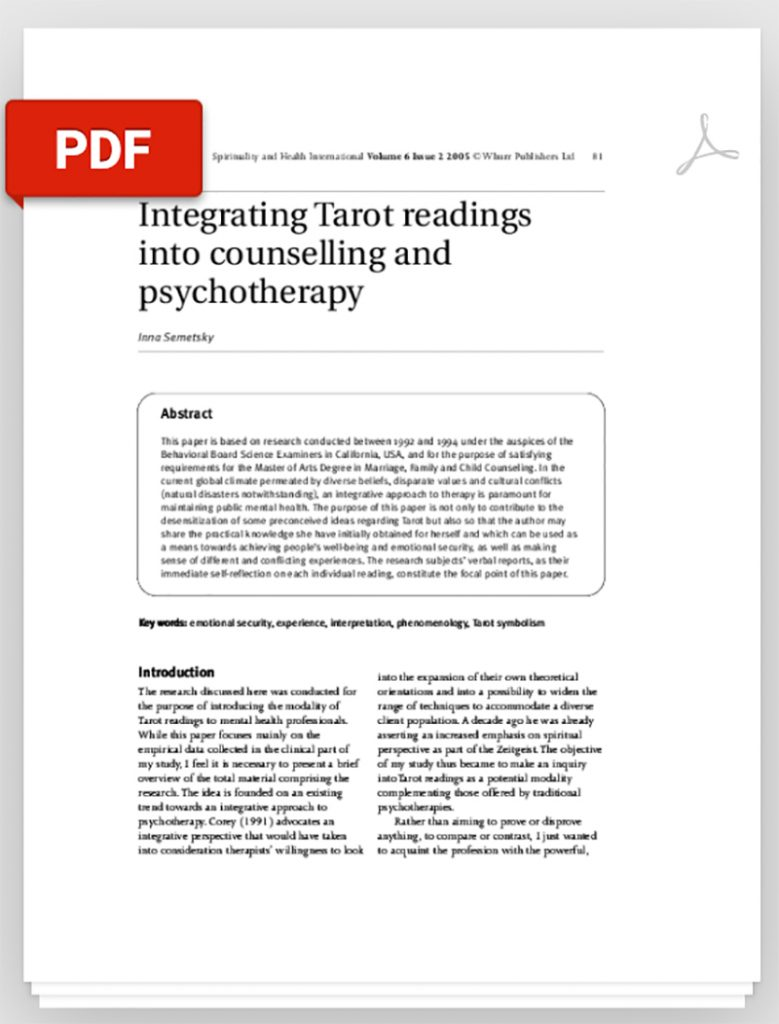 A Study: Integrating Tarot readings into counseling